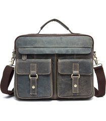 uomo vintage borsa a tracolla in pelle vera a doppio-uso borsa a mano borsa a monospalla