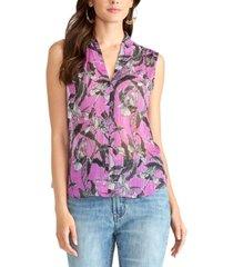 rachel rachel roy semi-sheer printed top