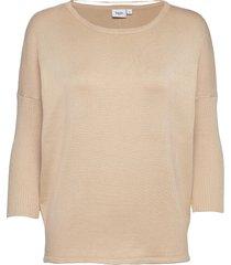 a2561, knit blouse w rib sl stickad tröja creme saint tropez