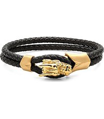 18k goldplated stainless steel & braided leather dragon head bracelet