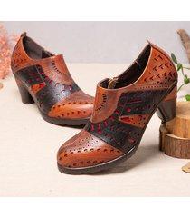 socofy retro hollow modello décolleté alla caviglia con tacco grosso in pelle di vacchetta color block