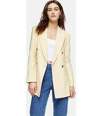yellow double breasted belted blazer - lemon