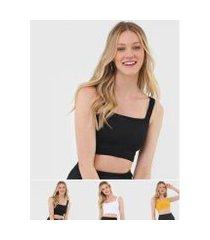 kit 3 croppeds salvatore top faixa comfy malha canelada feminino