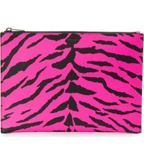 saint laurent zebra print clutch - rosa