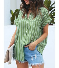botón diseño blusa manga corta cuello classic rayas