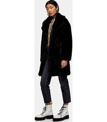 luxe faux fur coat in black - black