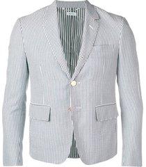 thom browne seersucker high-armhole sport coat - blue
