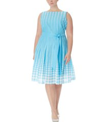 anne klein plus size cotton printed fit & flare dress