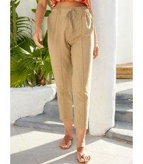 yoins pantalones caqui de cintura con cordón con costura en contraste