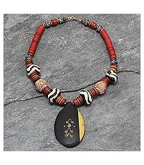 ebony and ceramic pendant necklace, 'all things new' (ghana)
