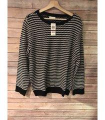 charter club macy's woman's striped comfy black white sweater - size xxl