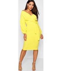 off the shoulder wrap midi bodycon dress, yellow