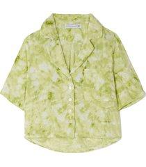 pampelonne tie-dyed crepe pajama shirt