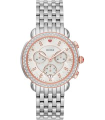 women's michele sidney chronograph diamond watch head & bracelet, 38mm