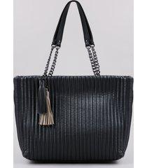 bolsa de ombro feminina grande texturizada com correntes e tassel preta