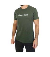t-shirt calvin klein slim flamê - verde
