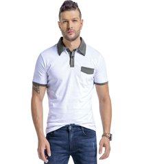 camiseta polo adulto masculino blanco/verde militar marketing  personal