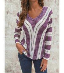 camicetta a maglia a maniche lunghe con scollo a v a manica lunga plus per donna