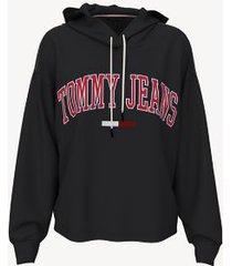tommy hilfiger women's organic cotton cropped hoodie jet black - xl