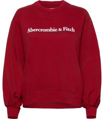 anf womens sweatshirts sweat-shirt tröja röd abercrombie & fitch