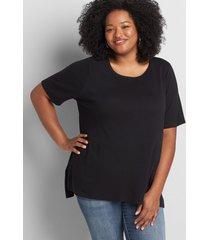lane bryant women's perfect sleeve step-hem tunic 10/12 black
