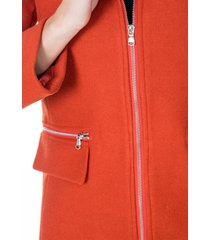 abrigo naranja con capota de peluche cremallera plateada