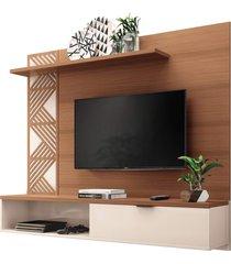 painel bancada suspensa para tv atã© 50 pol. grid nature/off white – hb mã³veis - unico - dafiti