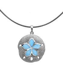 "marahlago larimar sand dollar 21"" pendant necklace in sterling silver"