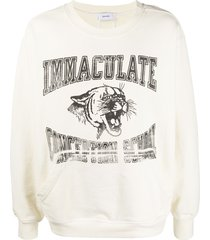 rhude tiger-print cotton sweatshirt - neutrals