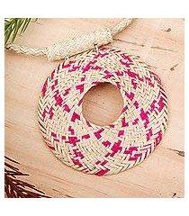 palm fiber pendant necklace, 'magenta sun' (mexico)