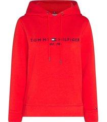 tommy hilfiger essential fleece hoodie met logo rood