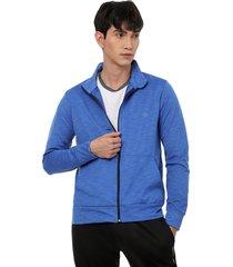 chaqueta sport colsillo canguro color azul, talla l
