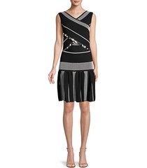 embellished sleeveless textured dress