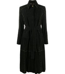 alberta ferretti studded leather coat - black