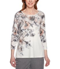 alfred dunner petite boardroom floral-print studded top