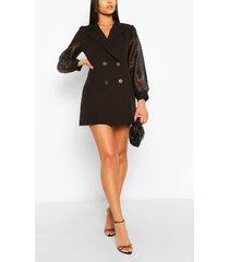 organza sleeve double breasted woven blazer dress, black