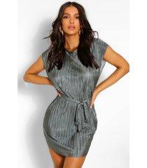 plisse shift dress, khaki