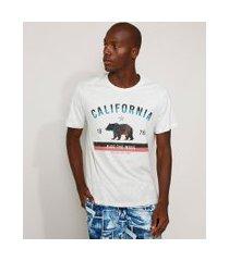 """camiseta masculina california ride the wave"""" manga curta gola careca cinza mescla claro"""""""