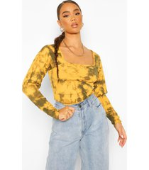 square neck puff sleeve top, mustard
