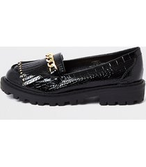 river island girls black patent croc chunky chain loafer