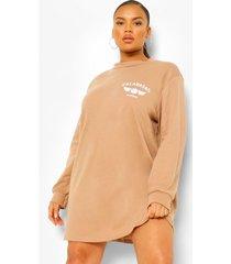 plus basketbal sweatshirt jurk met borstopdruk, beige