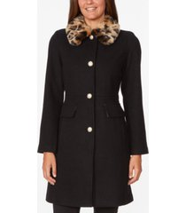 kate spade new york leopard-faux-fur collar coat