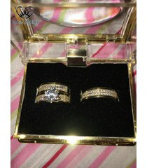 bride & groom trio ring set in yellow gold plated 925 silver round cut white cz
