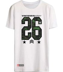 camiseta vinteseis manga curta 26 army branco