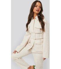 na-kd classic belted tweed jacket - white