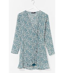 womens floral wrapover playsuit - sage