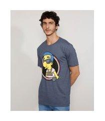 camiseta masculina manga curta gola careca milhouse os simpsons azul marinho
