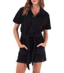 petite women's pam & gela belted cotton fleece romper, size medium p - black