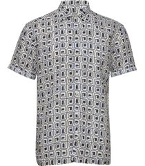 block print linen resort shirt overhemd met korte mouwen multi/patroon eton