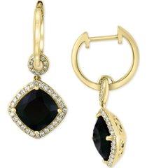 effy diamond (1/3 ct. t.w.) & onyx (10mm) drop earrings in 14k gold